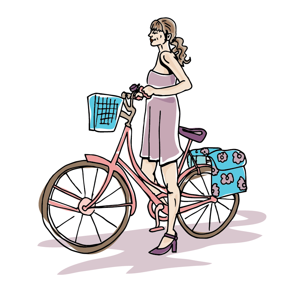 Lifestyle illustration by Suzy Malik, Girl on bike
